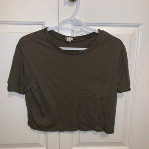 camo-green cropped shirt by Garage